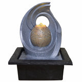 Indoor Water Fountain Rippled Sphere Swirl With LED Light - Prezents.com
