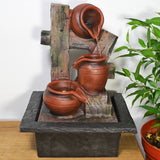 Indoor Water Fountain Overflowing Terracotta Pots With LED Light - Prezents.com
