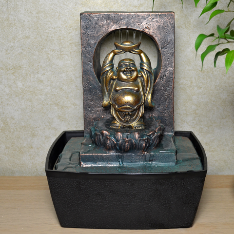 Indoor Water Fountain Verdigris Happy Buddha With LED Light