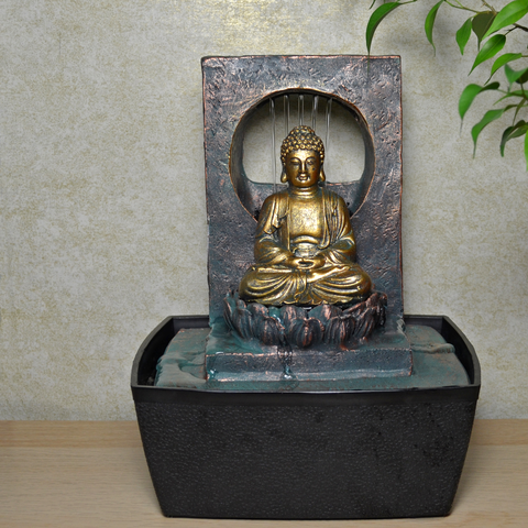 Indoor Water Fountain Verdigris Sitting Buddha With LED Light