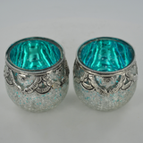 Silver & Turquoise Glass & Brass Speckled Votive Tea Light Holder - Set of 2