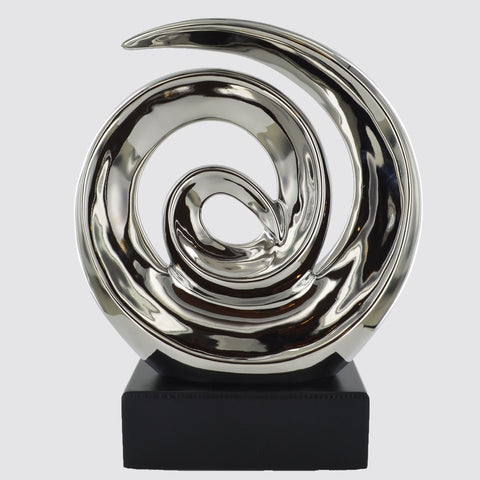 Silver Ceramics Swirl Sculpture - Prezents.com
