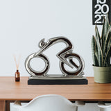 Silver Ceramics Abstract Cycling Sculpture - Prezents.com