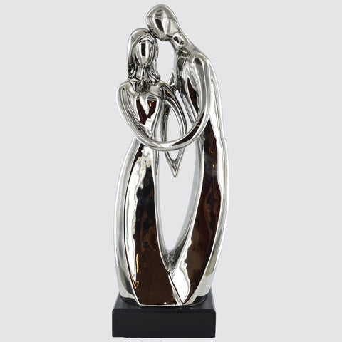 Silver Ceramics Couple Standing Sculpture - Prezents.com