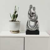Silver Ceramics Mother & Baby Sculpture
