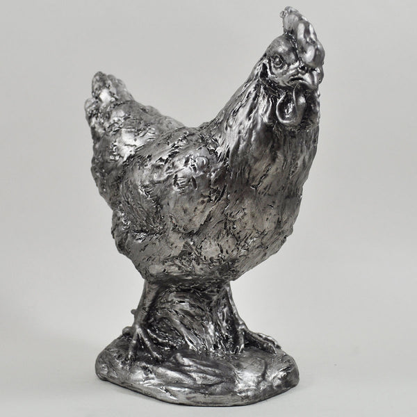 Silver Chicken Sculpture - Prezents.com