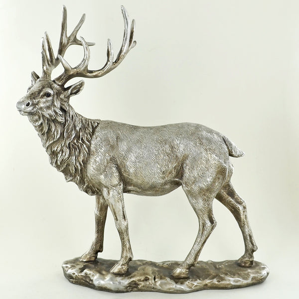 Large Highland Stag Silver Sculpture - Prezents.com