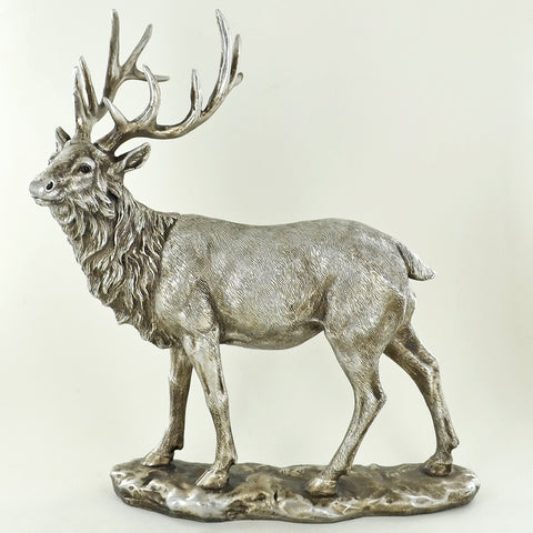 Large Stag Silver Sculpture - Prezents.com