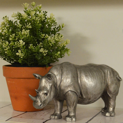Rhino Silver Sculpture