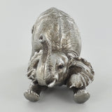 Elephant Arching Silver Sculpture