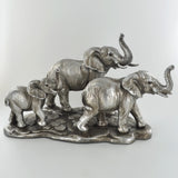 Elephant Family of Three Silver Sculpture