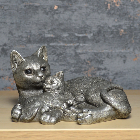 Cat and Kittens Entwined Silver Sculpture