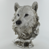 Wolf Head Silver Sculpture