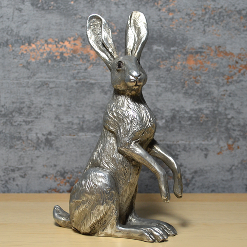 Poppy Hare Antique Silver Effect Sculpture by Harriet Glen
