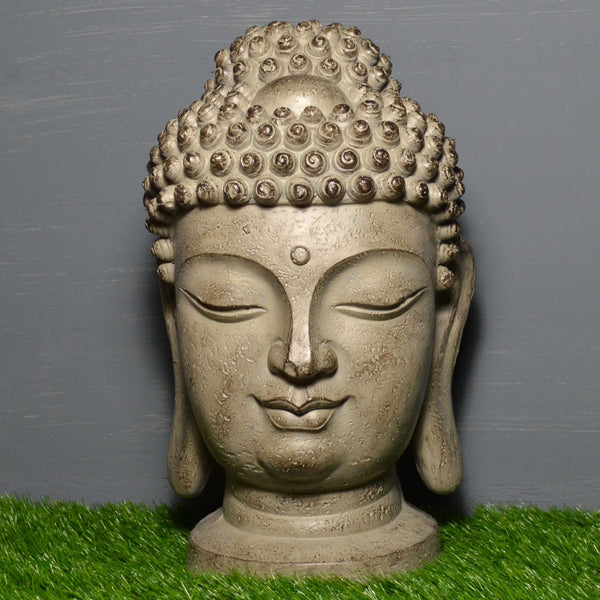 Large Buddha Head Stone Effect Sculpture - Prezents.com
