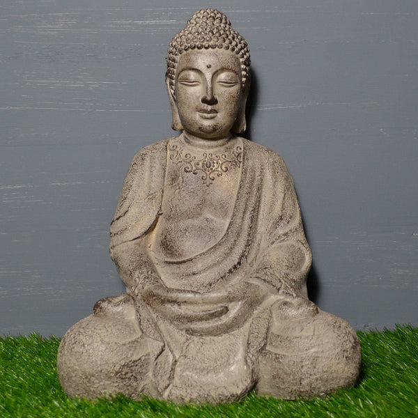 Large Stone Effect Sitting Buddha Sculpture - Prezents.com