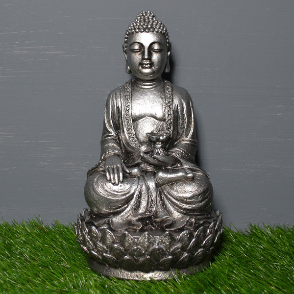 Silver Effect Sitting Buddha Sculpture - Prezents.com