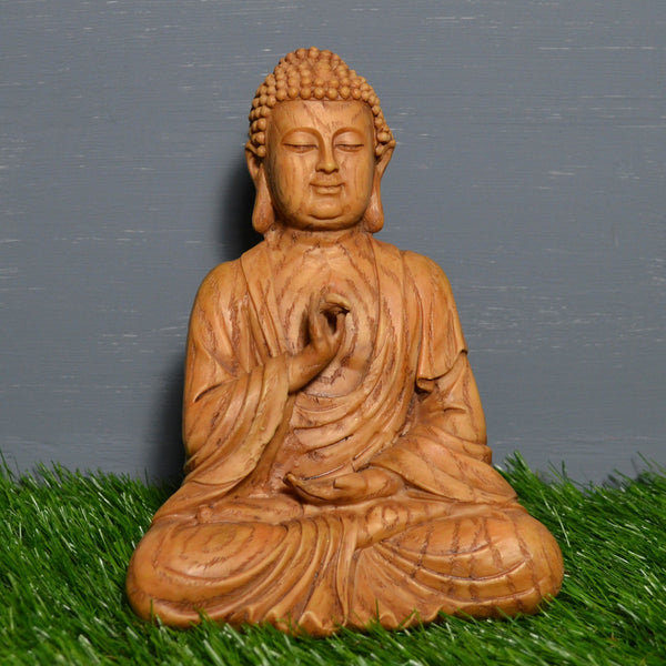 Small Wood Effect Sitting Buddha Sculpture - Prezents.com