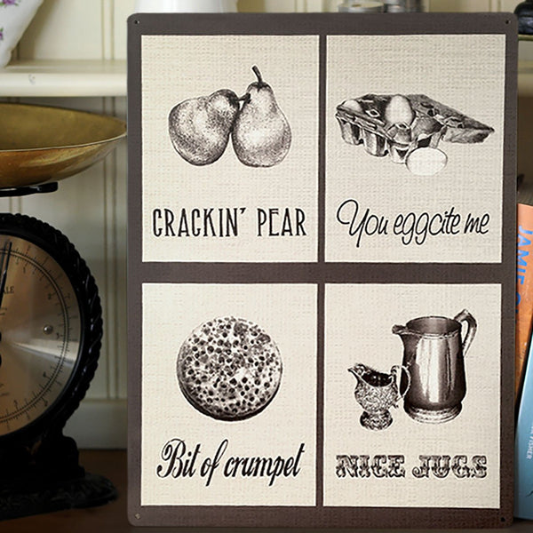 'Crackin' Pear' Funny Word Play Mix Cooking Metal Sign - Prezents