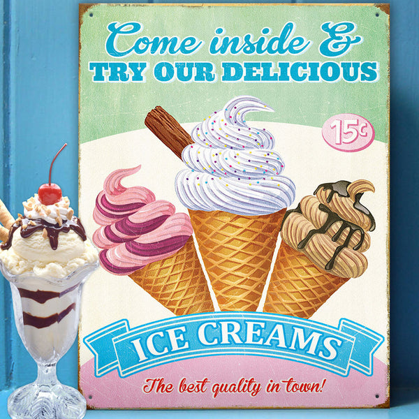 Try Our Delicious Ice Creams Metal Sign - Prezents