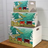 VW Campervan Road Trip Retro Wooden Crate Set - Prezents.com