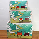 VW Campervan Road Trip Retro Wooden Crate Set