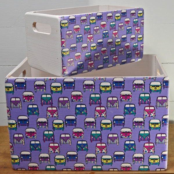 VW Campervan Purple Retro Wooden Crate Set