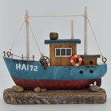 Fishing Boat Ornament- Blue