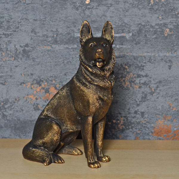 German Shepherd Bronze Effect Sculpture - Prezents.com