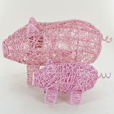 Pink Wire Wrapped Pigs- Set of Two