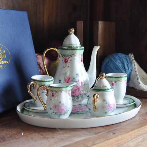 Miniature Vintage Rose Porcelain Coffee Set - Prezents.com