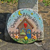 Grandkids Always Welcome Concrete Circular Stepping Stone - Prezents.com