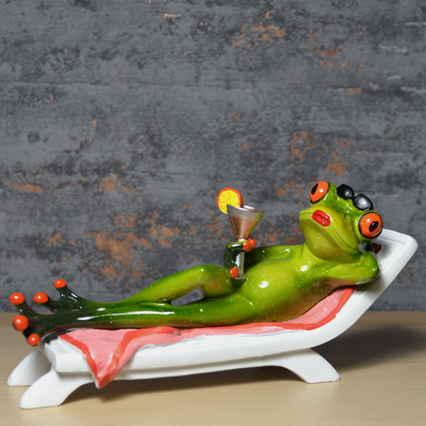 Comical Frogs - Cocktail on Deck Chair