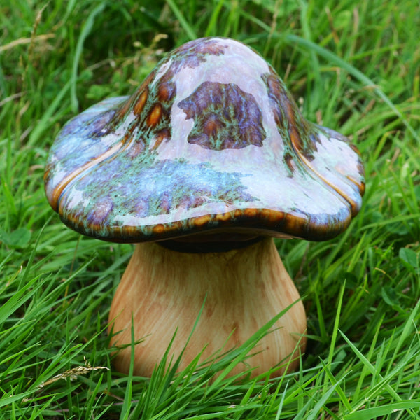 Curved Moss Effect Ceramic Toadstool for the Garden - Prezents.com