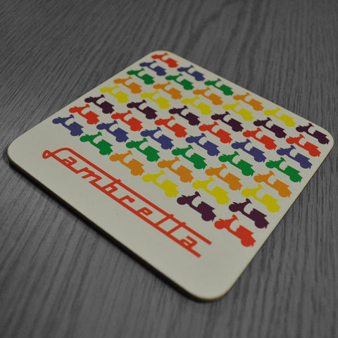 Lambretta Multicoloured Scooter Coaster Set - Prezents.com