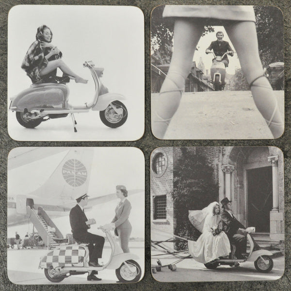 Lambretta Vintage Photo Coaster Set - Prezents.com