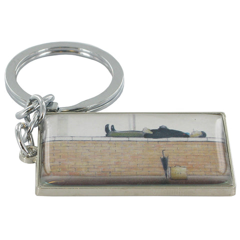 L.S Lowry Man Lying On A Wall Metal Key Ring - Prezents.com