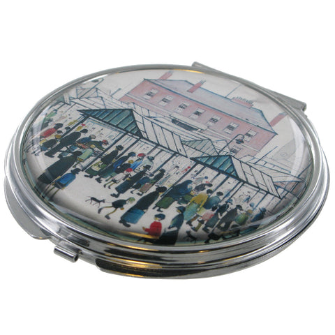 L.S Lowry Market Scene Northern Town Compact Mirror - Prezents
