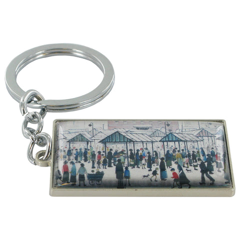 L.S Lowry Market Scene, Northern Town Metal Key Ring - Prezents