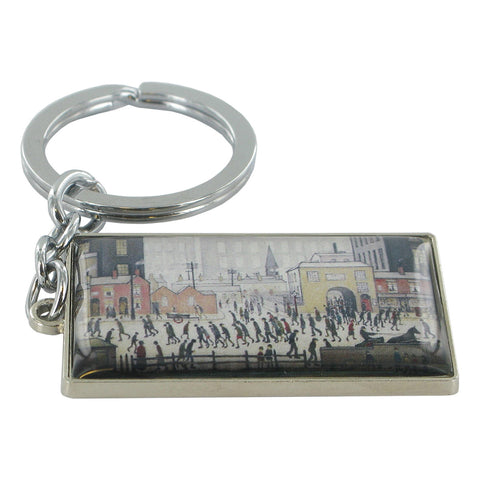 L.S Lowry Coming From The Mill Metal Key Ring - Prezents