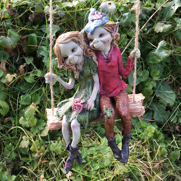 Pixie Couple on a Swing Sculpture by Tony Fisher - Prezents  - 2