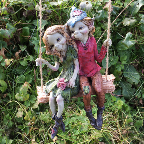 Pixie Couple on a Swing Sculpture by Tony Fisher - Prezents