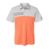 B2081 Mens Heathered Colorblock 3 Stripe Polo