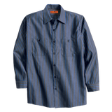 B1321MLS Mens Red Kap Striped Long Sleeve Industrial Work Shirt