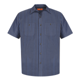 B1777 Mens Tall Striped Industrial Short Sleeve Work Shirt