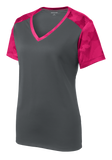 B1646W Ladies CamoHex Colorblock V-neck Tee