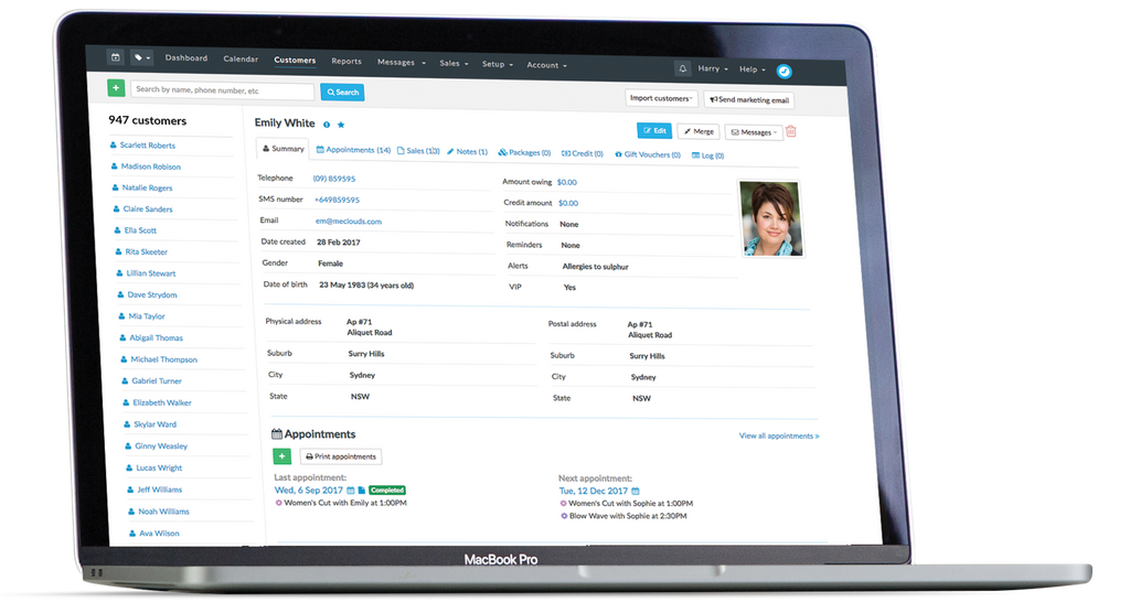 Timely manage customer profile and appointment history