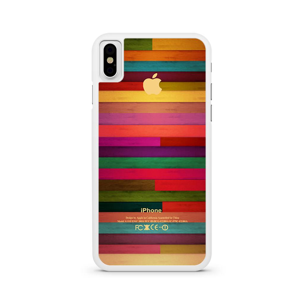 Apple Logo Wood Rainbow iPhone X case