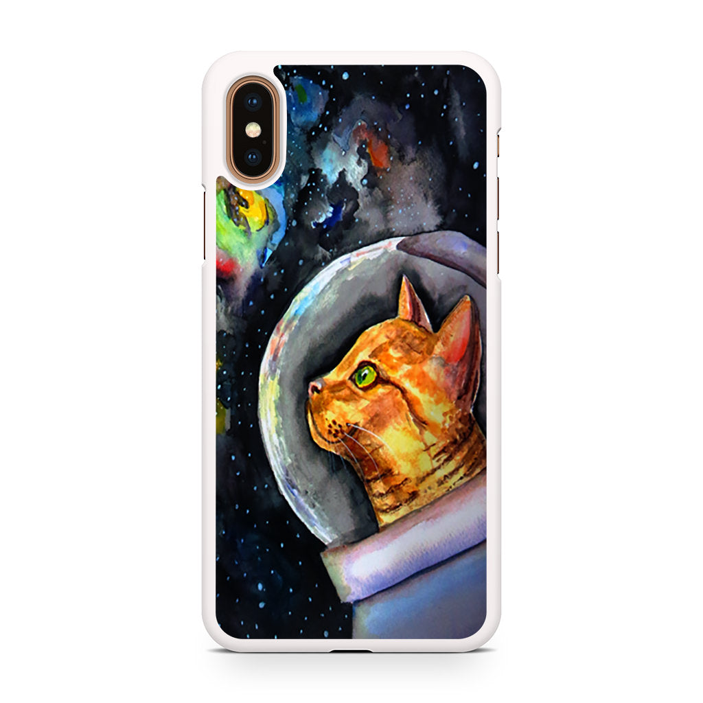 Space Astronaut Cat Watercolor iPhone XS/XS Max case
