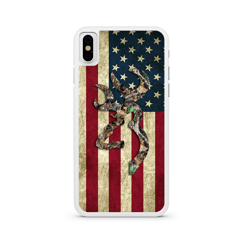 American flag Camo Deer iPhone X case
